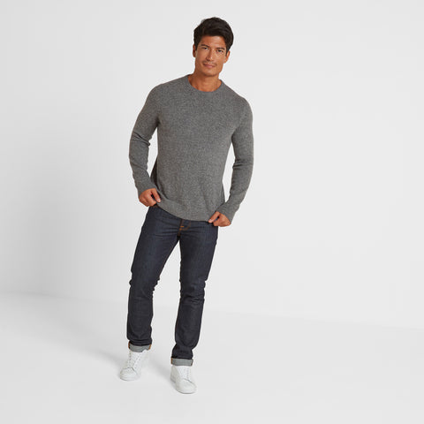 Clyde Mens Soft Wool Crew Neck Jumper - Light Grey Marl