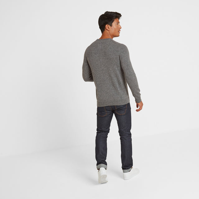 Clyde Mens Soft Wool Crew Neck Jumper - Light Grey Marl image 2