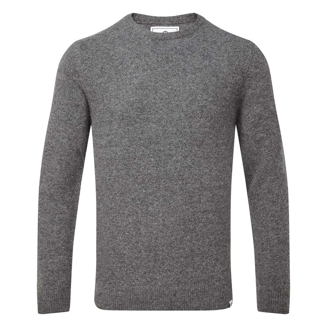 Clyde Mens Soft Wool Crew Neck Jumper - Light Grey Marl image 3