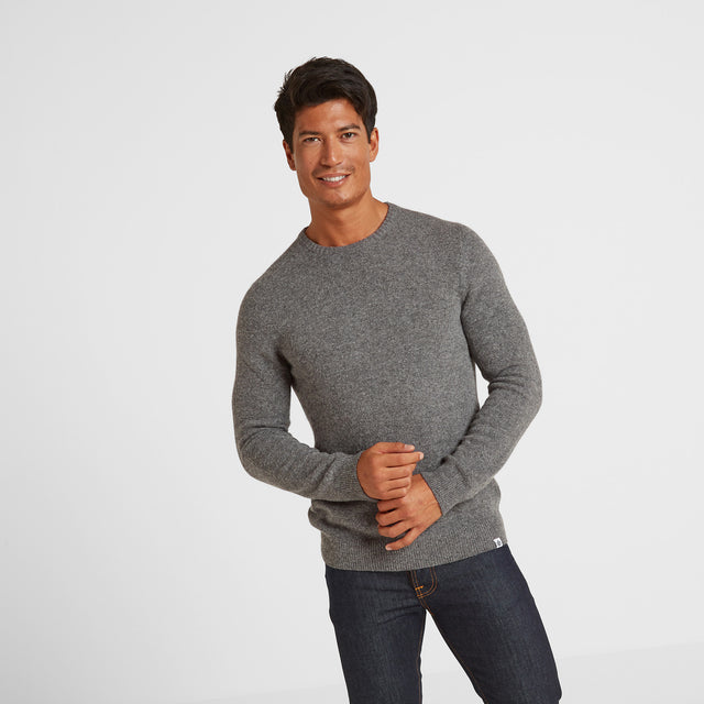 Clyde Mens Soft Wool Crew Neck Jumper - Light Grey Marl image 1