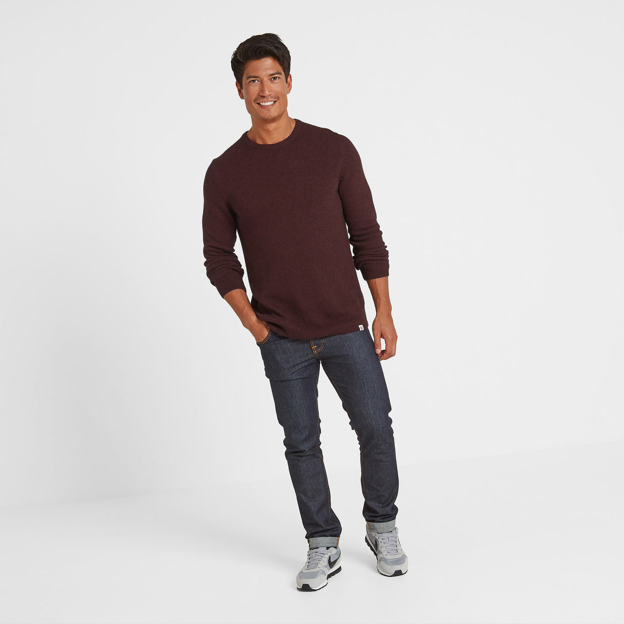 Clyde Mens Soft Wool Crew Neck Jumper - Deep Port Marl image 4