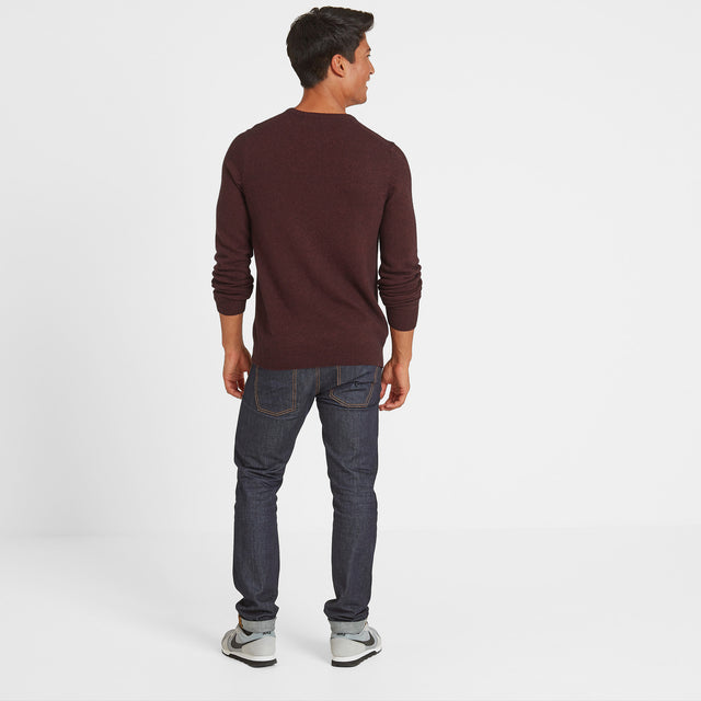 Clyde Mens Soft Wool Crew Neck Jumper - Deep Port Marl image 2