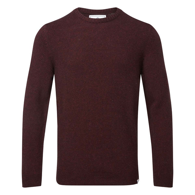 Clyde Mens Soft Wool Crew Neck Jumper - Deep Port Marl image 3