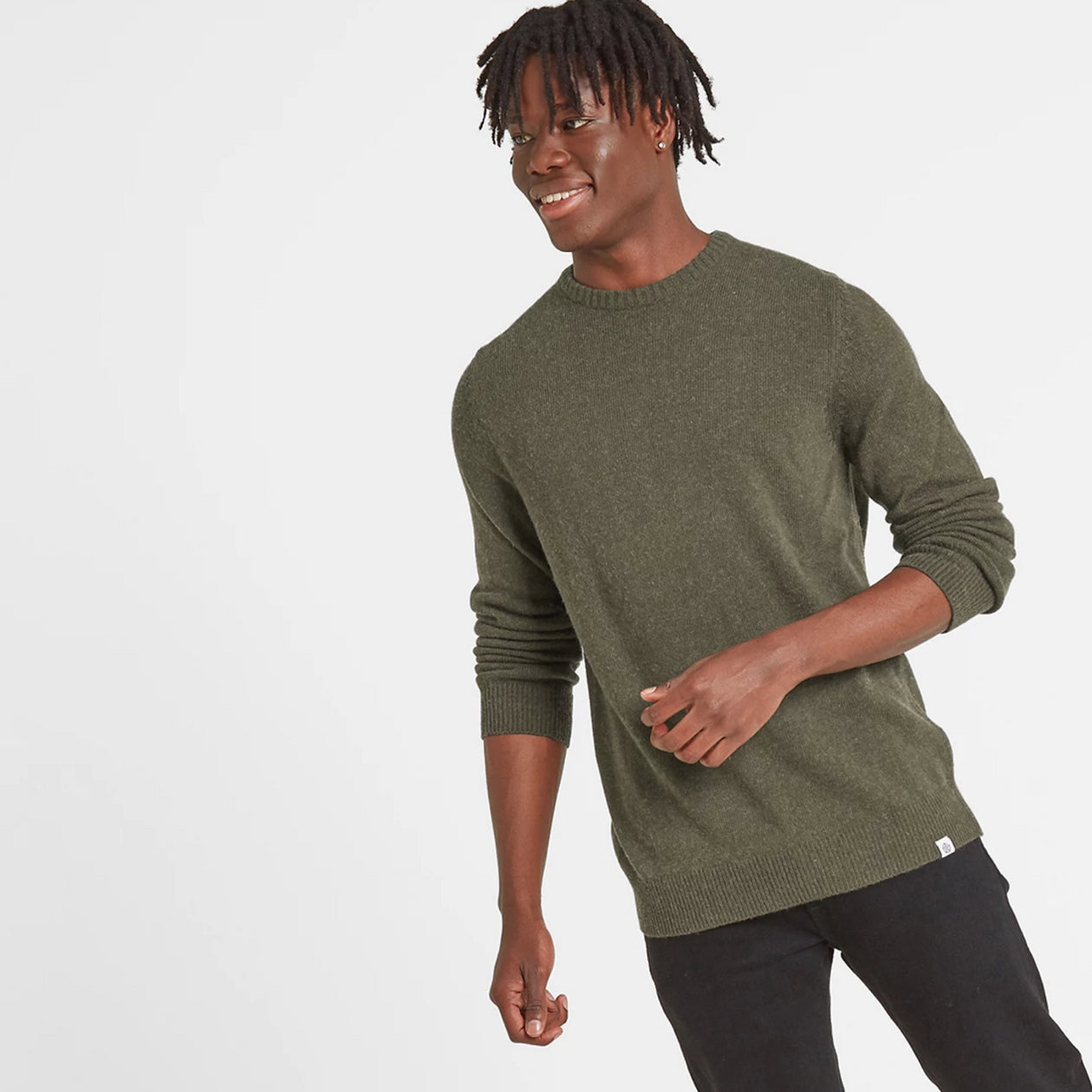 Clyde Mens Soft Wool Crew Neck Jumper - Dark Khaki image 4
