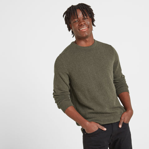 Clyde Mens Soft Wool Crew Neck Jumper - Dark Khaki