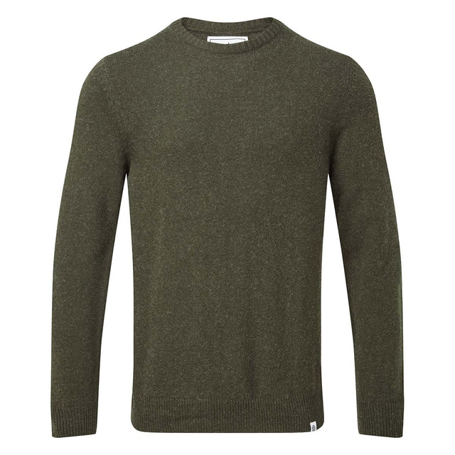 Clyde Mens Soft Wool Crew Neck Jumper - Dark Khaki image 3