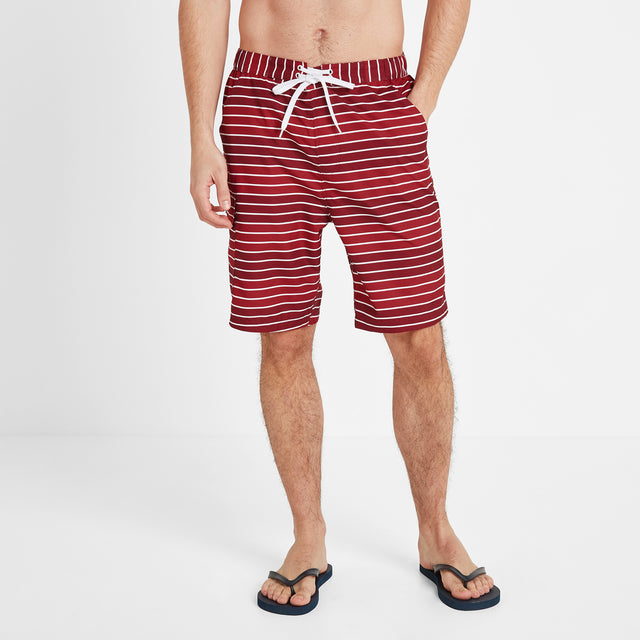 Cole Mens Stripe Board Shorts - Rio Red image 2