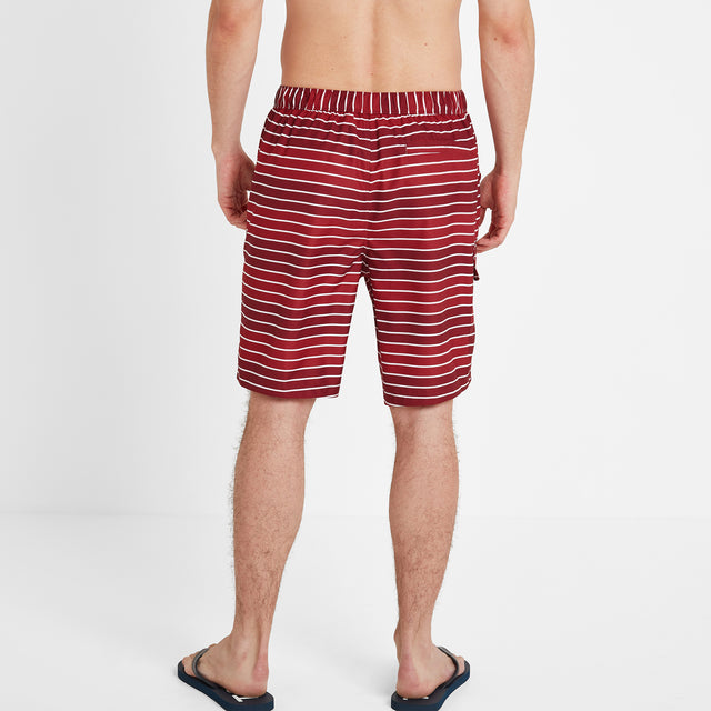 Cole Mens Stripe Board Shorts - Rio Red image 3