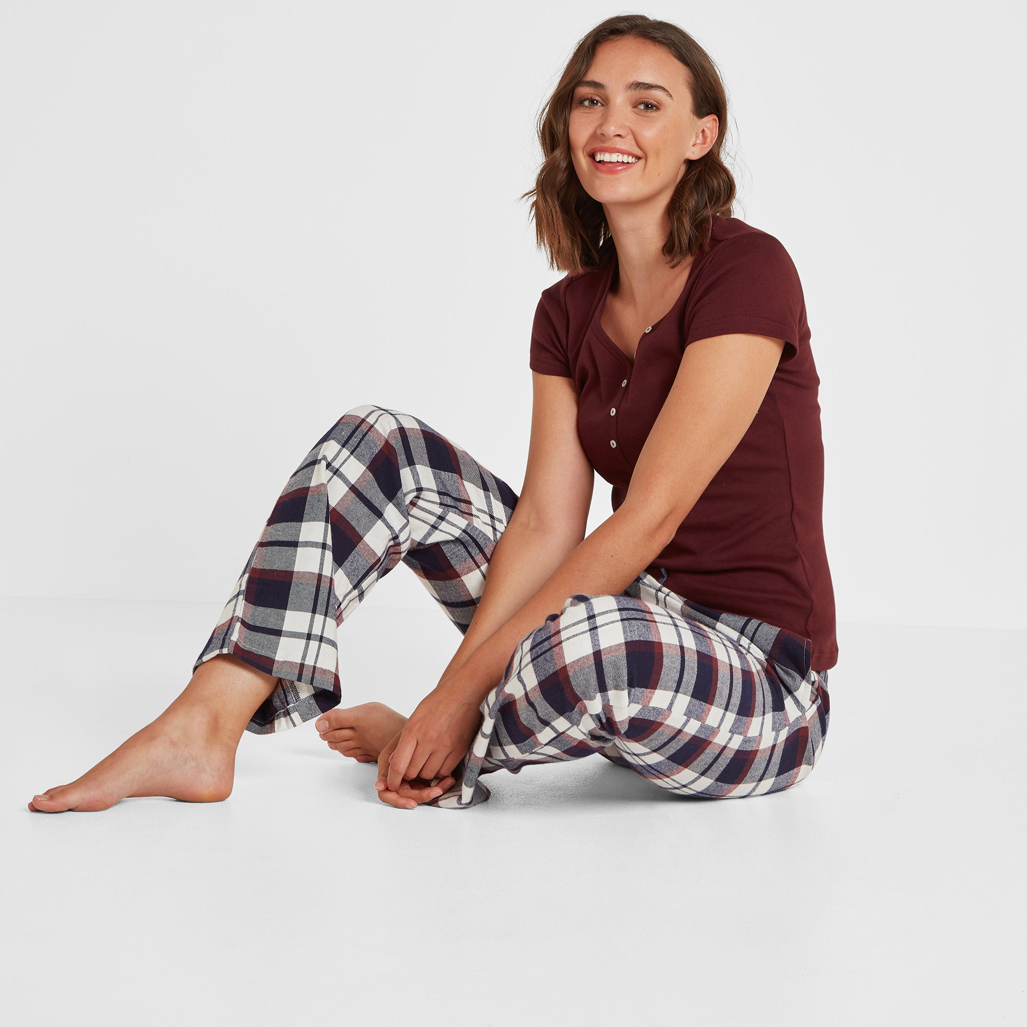 Cosy Womens Pant Set - Deep Port/Deep Port Check