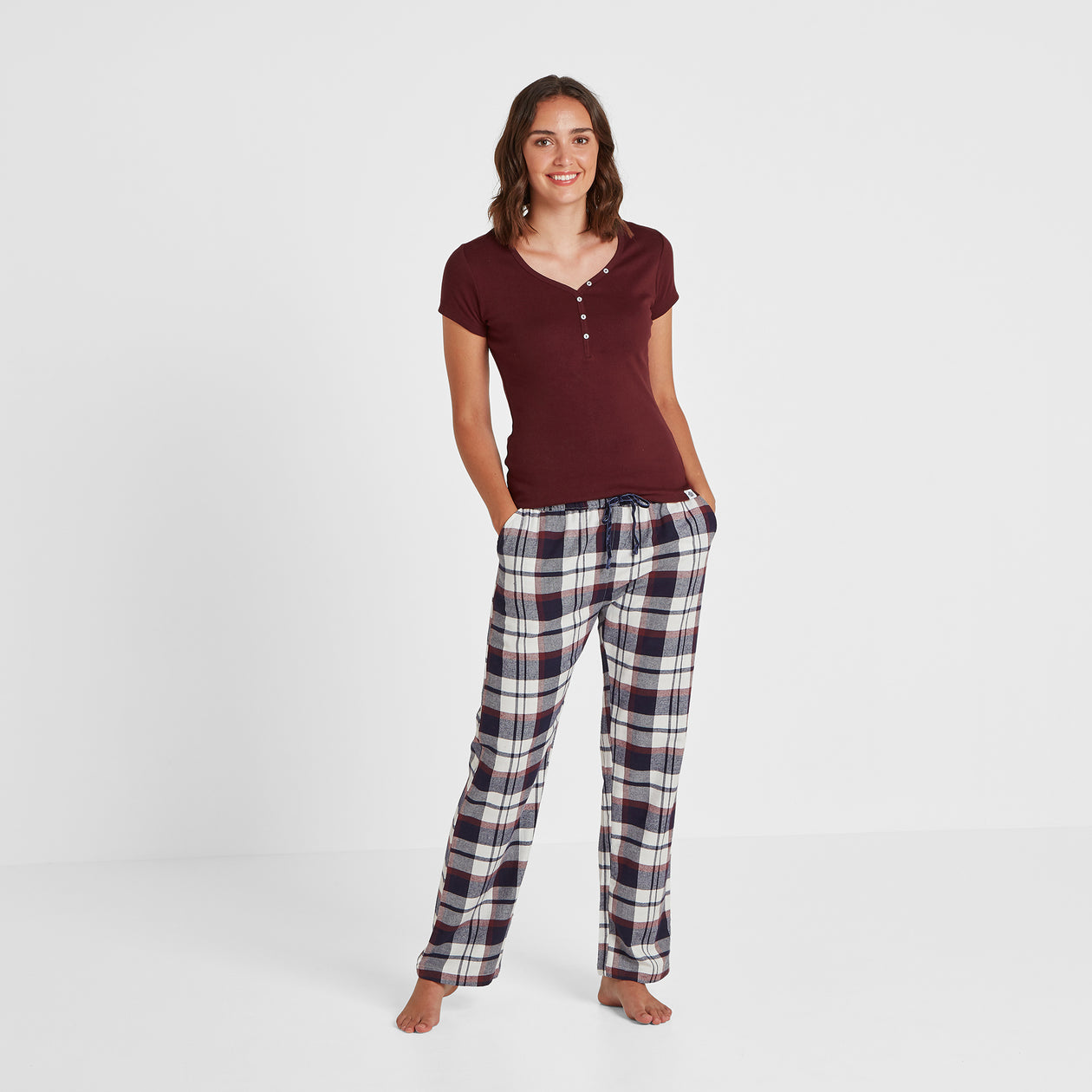Cosy Womens Long Pyjamas - Deep Port/Deep Port Check image 4