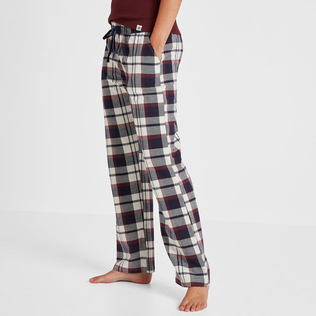 Cosy Womens Long Pyjamas - Deep Port/Deep Port Check image 3