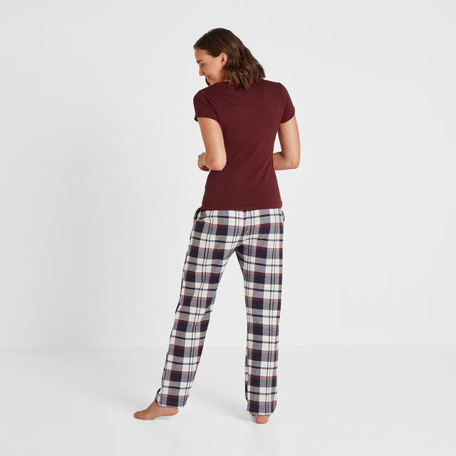 Cosy Womens Long Pyjamas - Deep Port/Deep Port Check image 5
