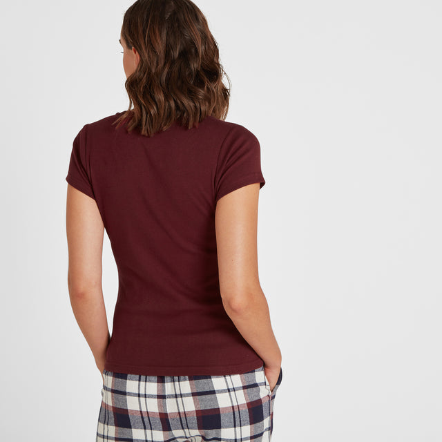 Cosy Womens Long Pyjamas - Deep Port/Deep Port Check image 6