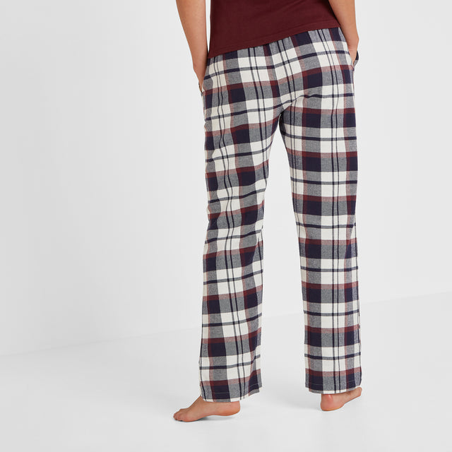 Cosy Womens Long Pyjamas - Deep Port/Deep Port Check image 7