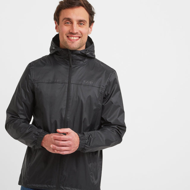 Craven Mens Waterproof Packaway Jacket - Black image 1
