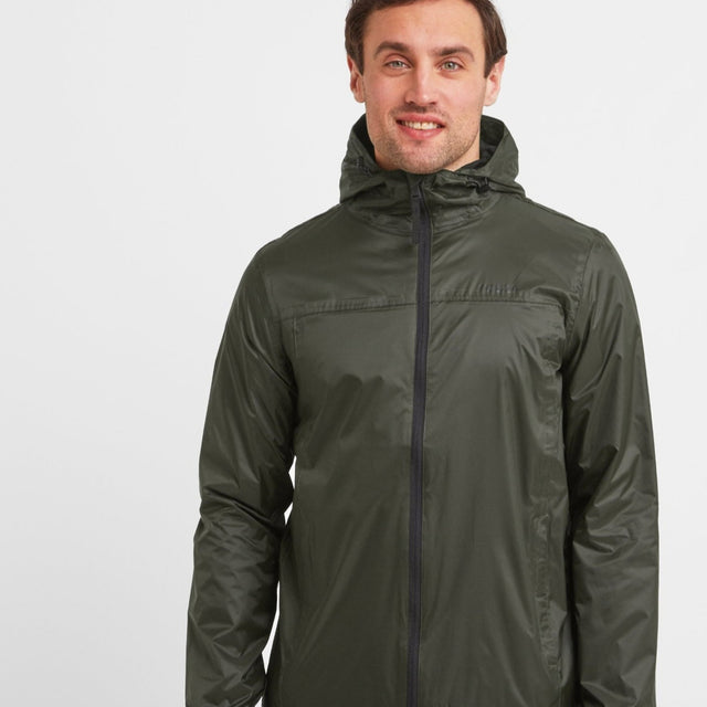 Craven Mens Waterproof Packaway Jacket - Dark Khaki image 1
