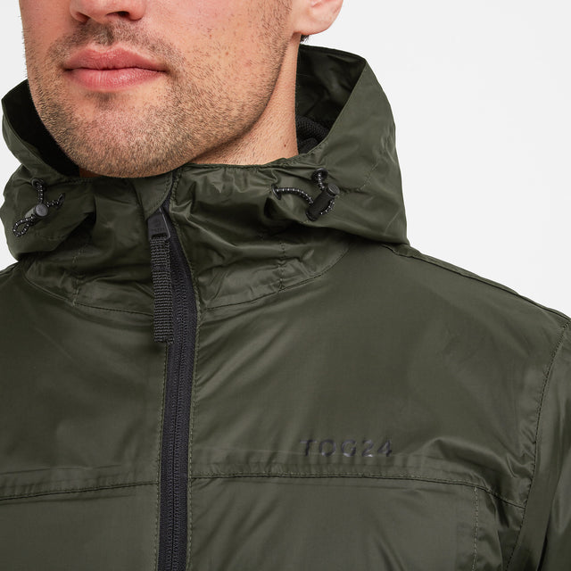 Craven Mens Waterproof Packaway Jacket - Dark Khaki image 2
