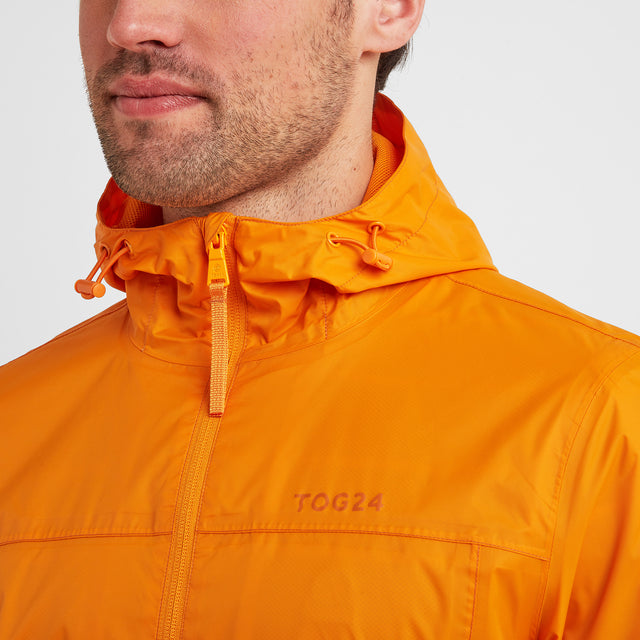 Craven Mens Waterproof Packaway Jacket - Orange Sunset image 2
