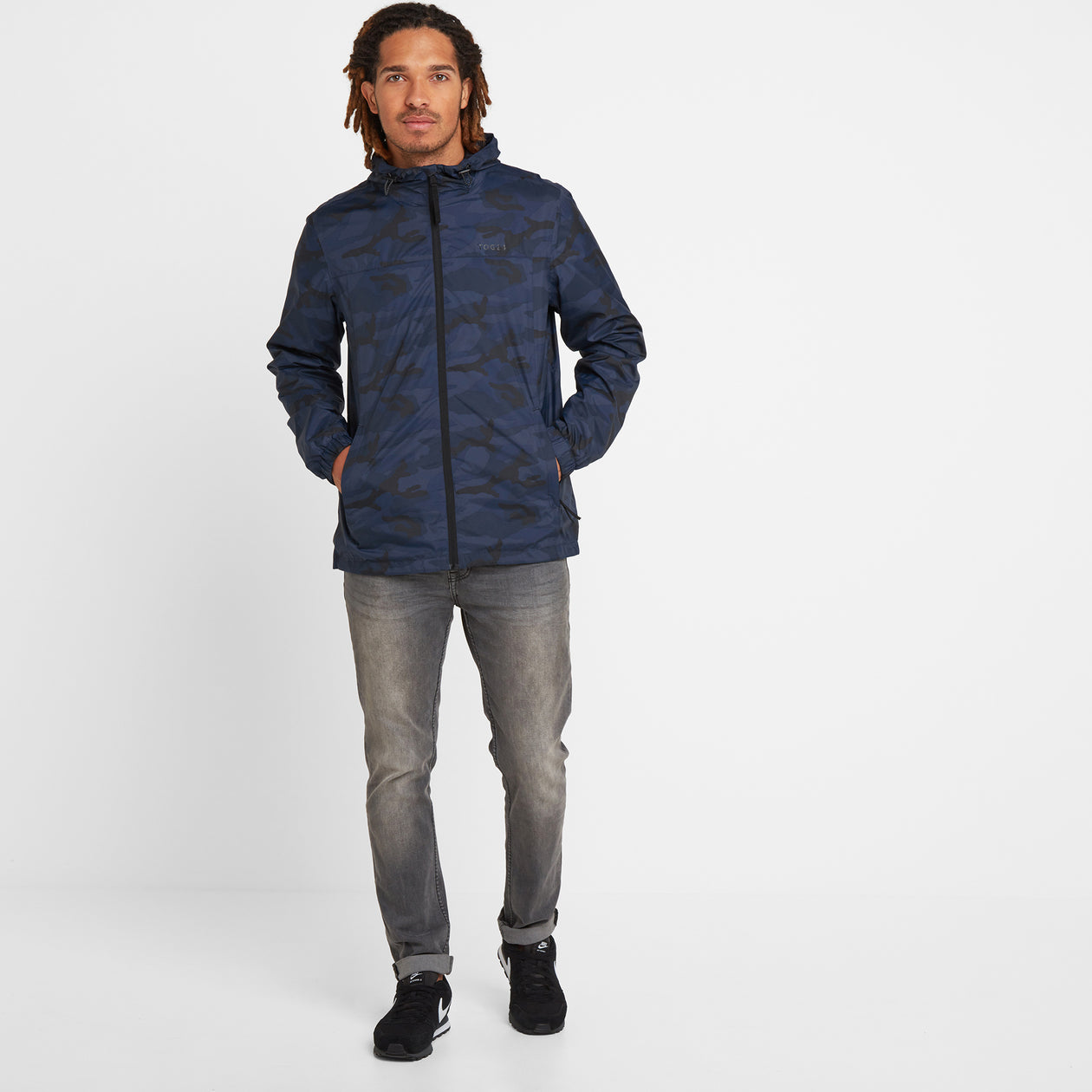 Craven Mens Waterproof Packaway Jacket - Navy/Classic Camo image 4