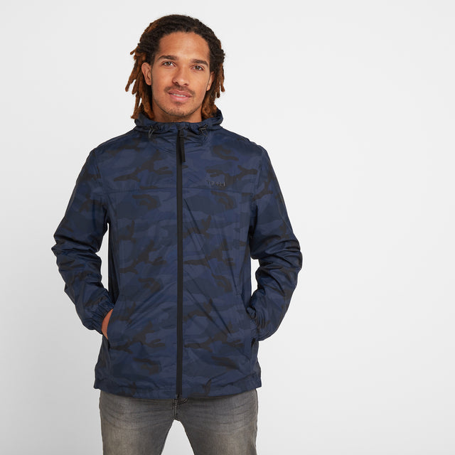 Craven Mens Waterproof Packaway Jacket - Navy/Classic Camo image 1