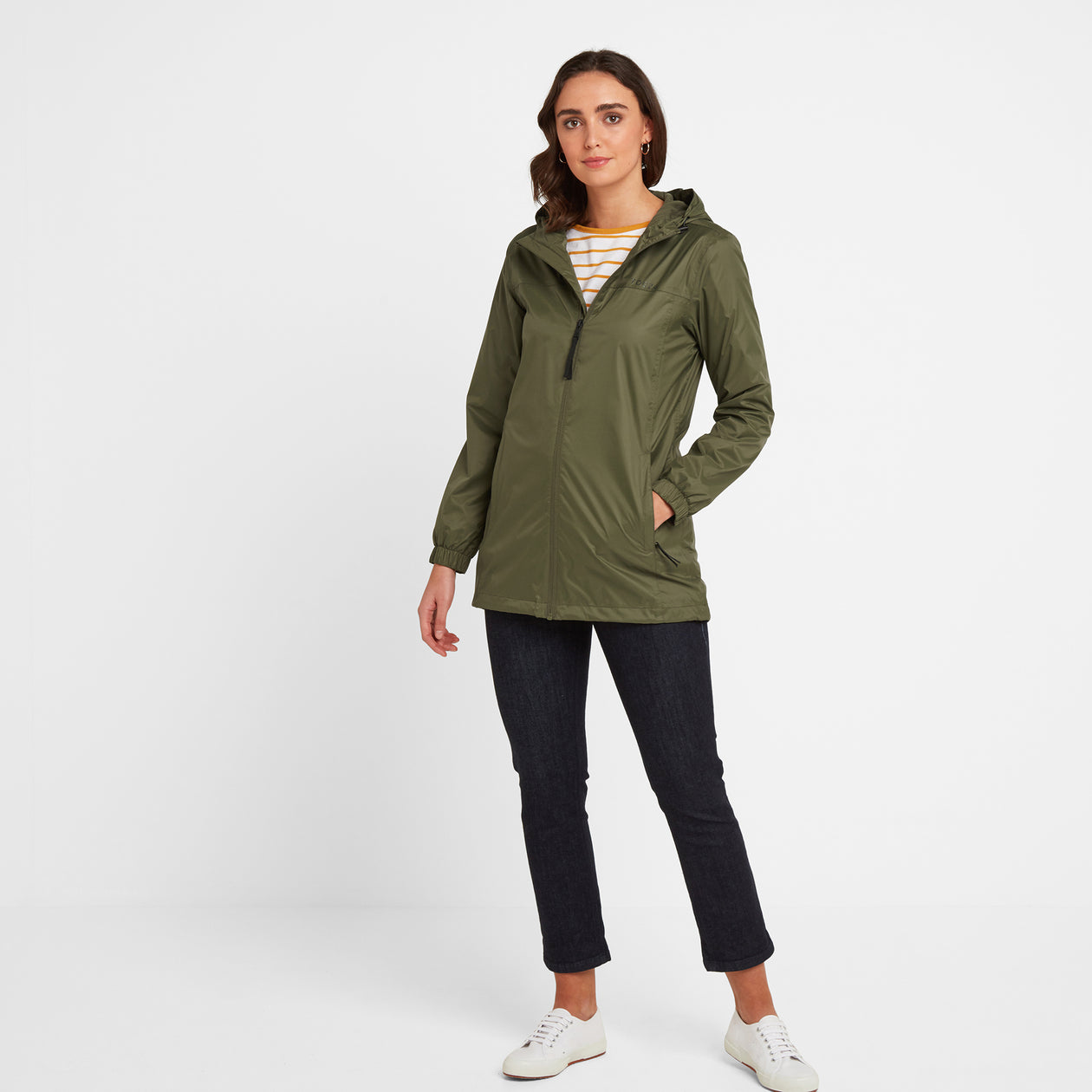 Craven Womens Long Waterproof Packaway Jacket - Light Khaki image 4