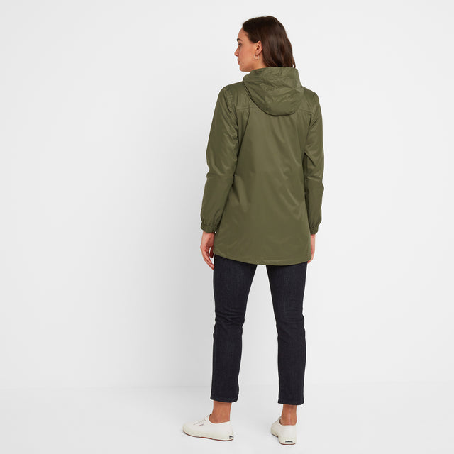 Craven Womens Long Waterproof Packaway Jacket - Light Khaki image 2