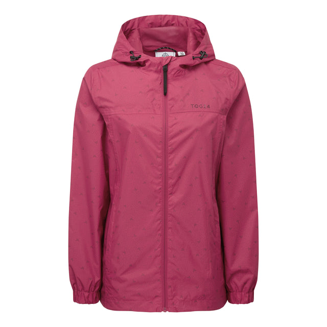 Craven Womens Waterproof Packaway Jacket - Sangria Print image 3