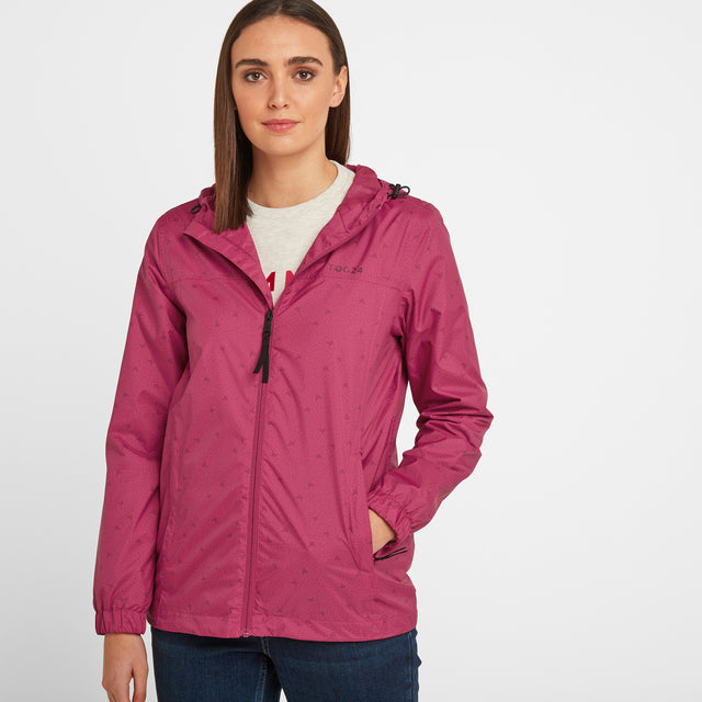 Craven Womens Waterproof Packaway Jacket - Sangria Print image 1