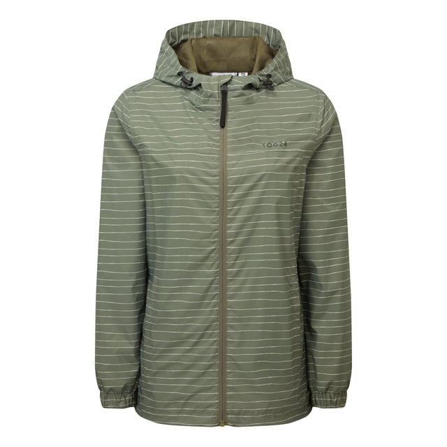 Craven Womens Waterproof Packaway Jacket - Light Khaki Stripe image 3