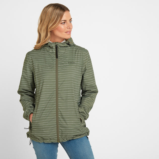 Craven Womens Waterproof Packaway Jacket - Light Khaki Stripe image 1