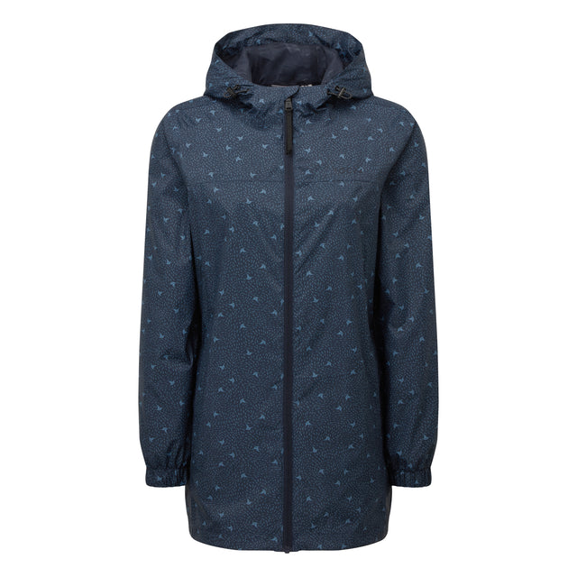 Craven Womens Long Waterproof Packaway Jacket - Dark Indigo Print image 3