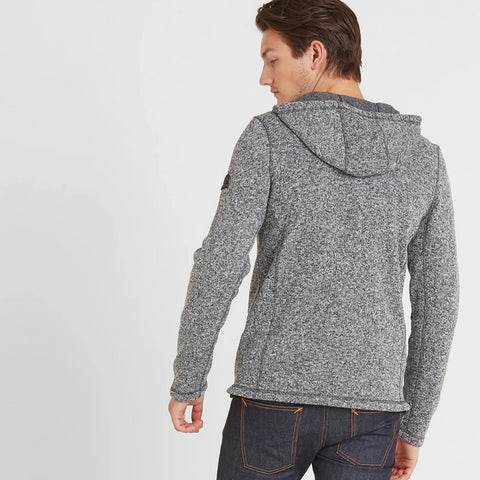 Cropton Mens Knitlook Fleece Hoody - Grey Marl