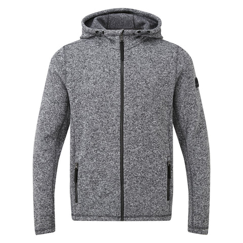 Cropton Mens Knitlook Fleece Hood - Grey Marl
