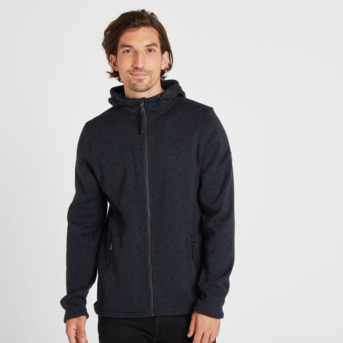 Cropton Mens Knitlook Fleece Hoody - Dark Indigo