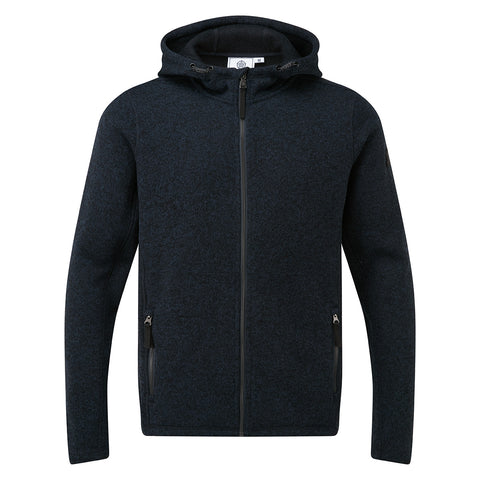 Cropton Mens Knitlook Fleece Hood - Dark Indigo