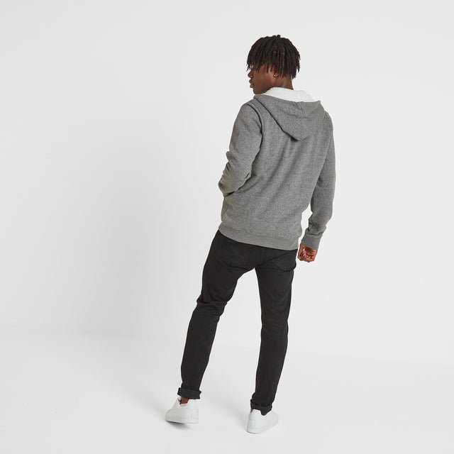 Darfield Mens Sherpa Lined Hoody - Dark Grey Marl image 3