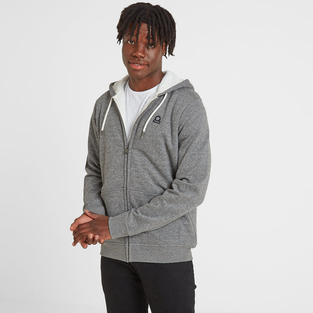 Darfield Mens Sherpa Lined Hoody - Dark Grey Marl image 1