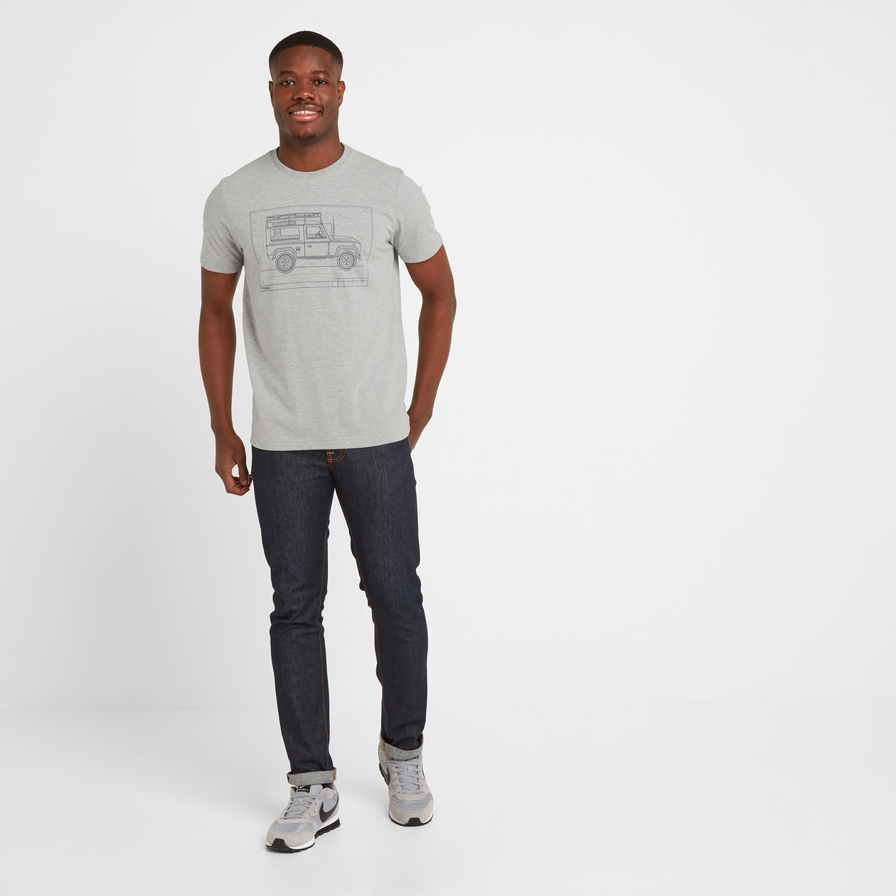 Davenport Mens T-Shirt 4x4 - Light Grey Marl image 4