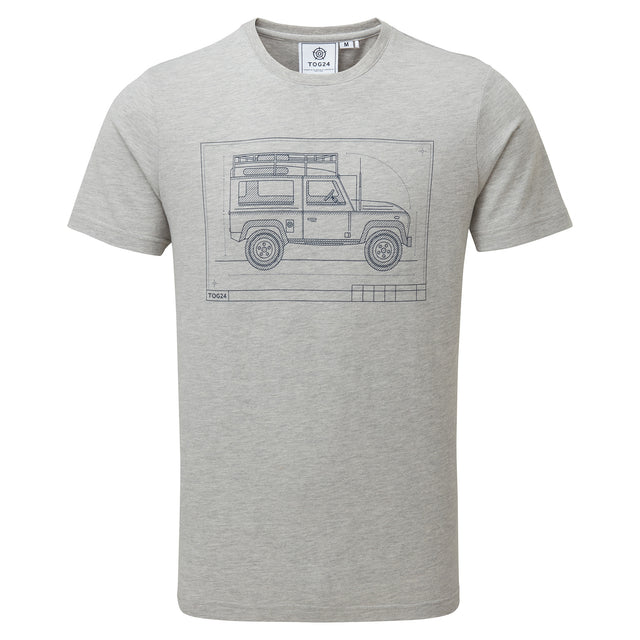 Davenport Mens T-Shirt 4x4 - Light Grey Marl image 3