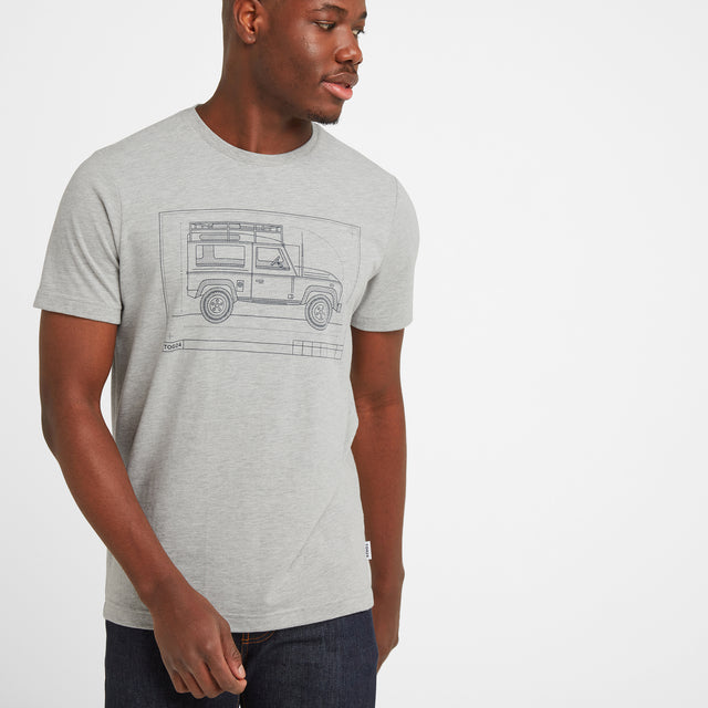 Davenport Mens T-Shirt 4x4 - Light Grey Marl image 1