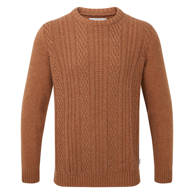 Dermot Mens Cable Knit Jumper - Amber Marl image 3