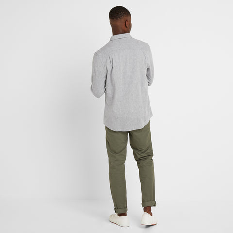 Diego Mens Long Sleeve Shirt - Concrete Grey