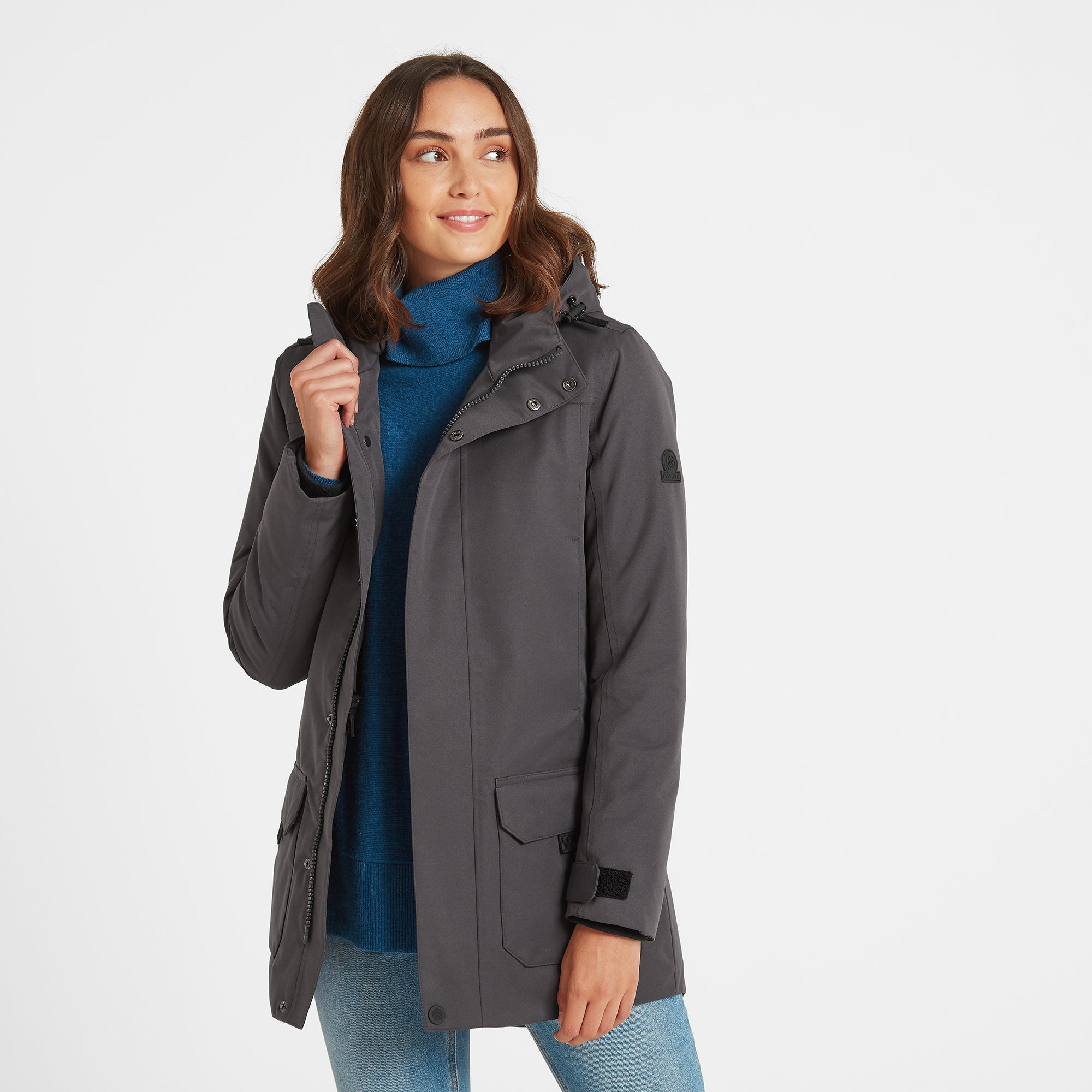 Dight Womens Waterproof Parka - Coal Grey