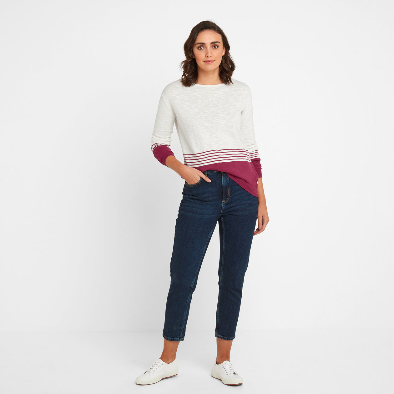 Dolly Womens Stripe Jumper - Snow White/Sangria image 4