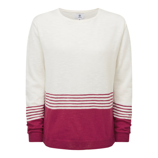 Dolly Womens Stripe Jumper - Snow White/Sangria image 3