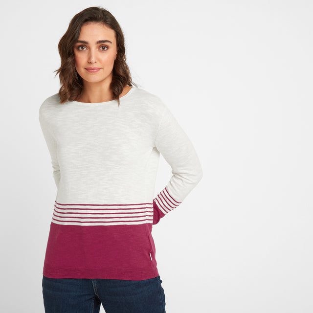 Dolly Womens Stripe Jumper - Snow White/Sangria image 1