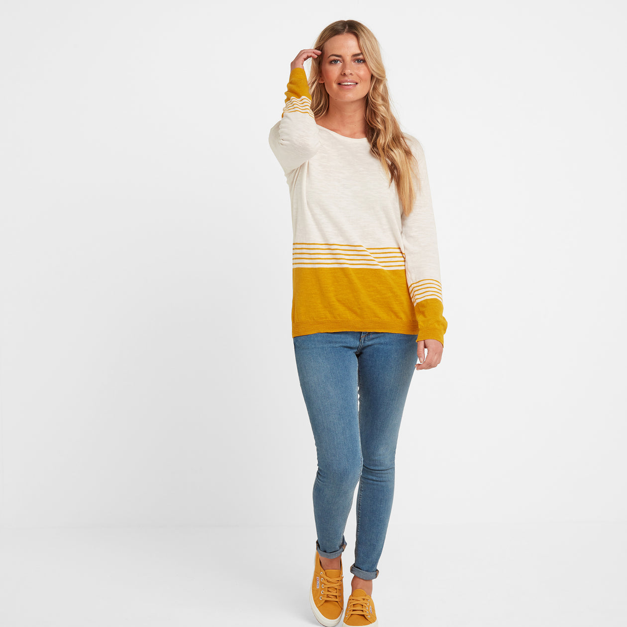 Dolly Womens Stripe Jumper - Snow White/Golden Yellow image 4