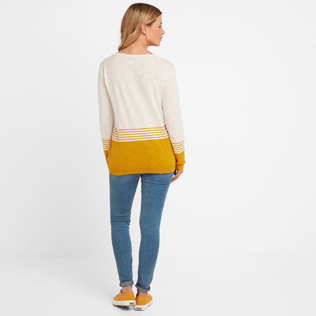 Dolly Womens Stripe Jumper - Snow White/Golden Yellow image 2