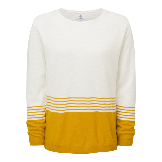 Dolly Womens Stripe Jumper - Snow White/Golden Yellow image 3