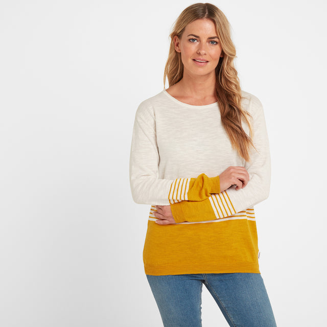 Dolly Womens Stripe Jumper - Snow White/Golden Yellow image 1